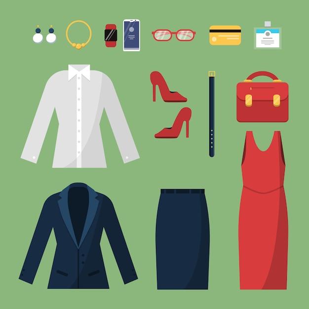女性の服。女性のオフィスマネージャー監督ワードローブスカートスーツジャケット帽子バッグトップビューsのファッションビジネススタイル Premiumベクター