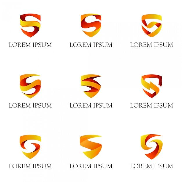 頭文字sのロゴコレクションとシールド Premiumベクター