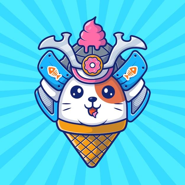 猫サムライマスコットアイコン。猫saとアイスクリーム、分離された動物アイコン Premiumベクター