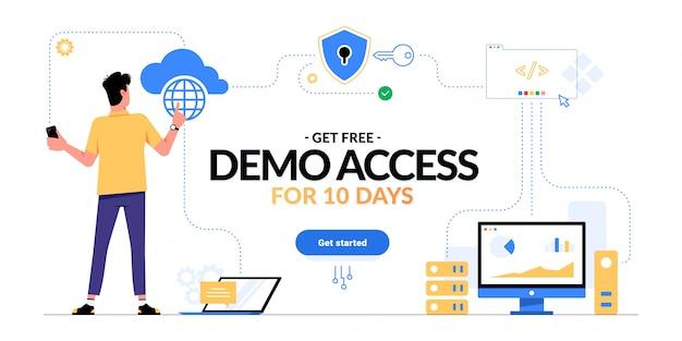 Saas、paas、iaasプロモーション広告バナーへの無料デモアクセスを取得します。クラウドコンピューティングサービススキームを探している人と白で隔離開始ctaボタンを取得します。ビジネスプロセスの最適化。 Premiumベクター