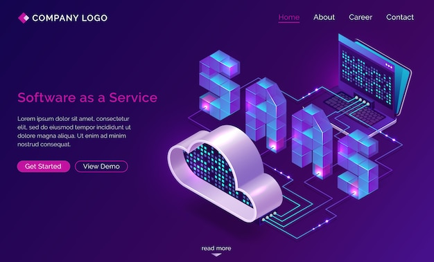 Saas, software as a service isometric landing page Free Vector