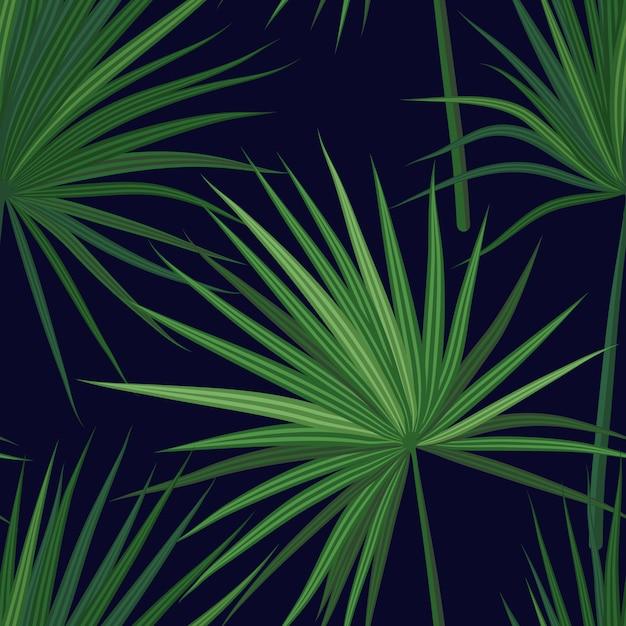 ジャングルの植物と熱帯の背景。緑sabalヤシと熱帯のシームレスなパターンを残します。 Premiumベクター
