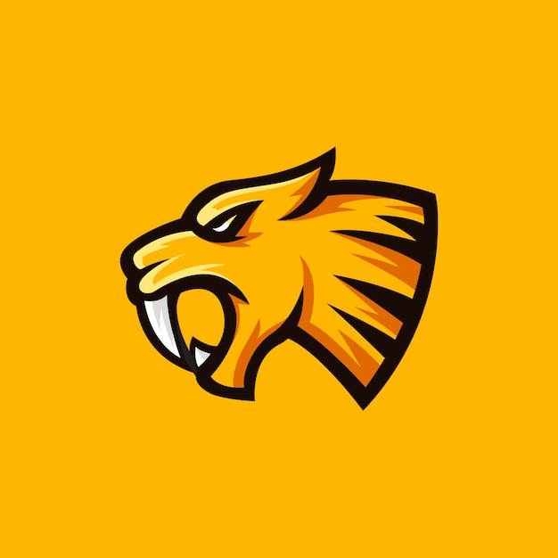 Sabertooth logo mascot illustration Premium Vector