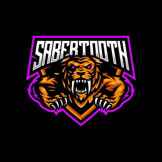Sabertoothマスコットロゴeスポーツゲーム Premiumベクター