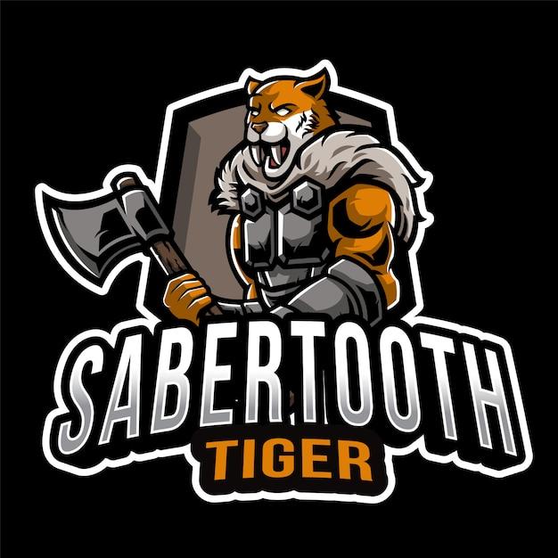 Шаблон логотипа sabertooth tiger esport Premium векторы