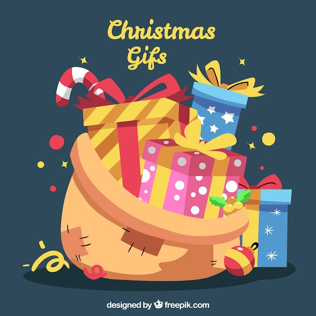 Sack background with gift boxes Free Vector