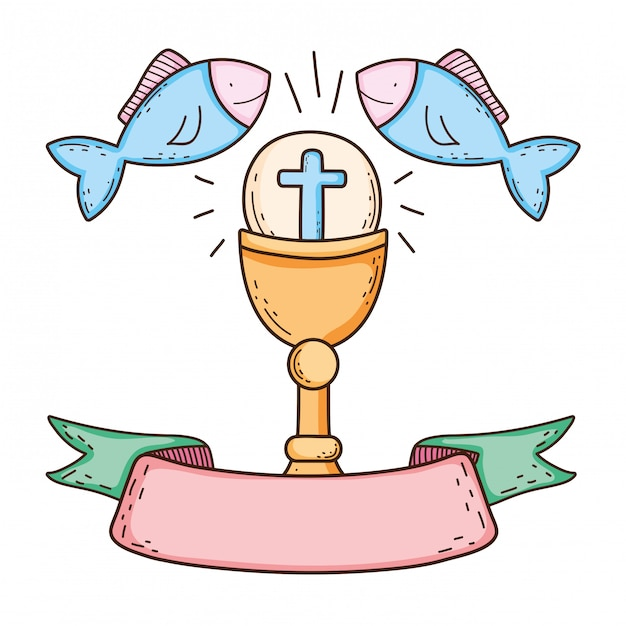 Sacred chalice with fishes Premium Vector
