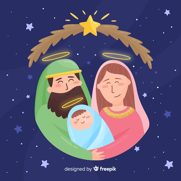 Sacred family hand drawn portrait Free Vector