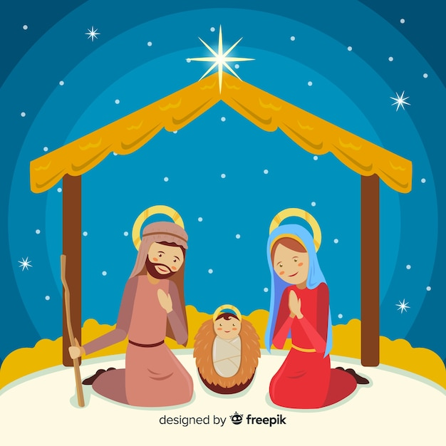 Sacred family nativity background Free Vector