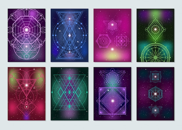 Sacred geometry colorful banners collection Free Vector