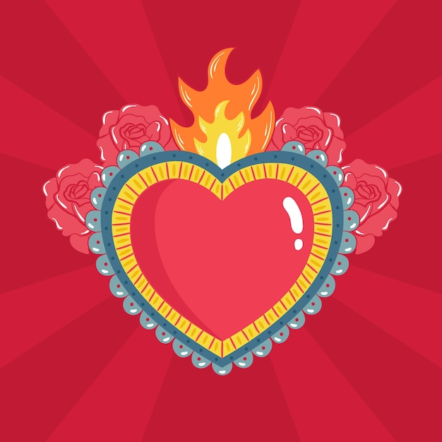 Sacred heart illustrated theme Free Vector