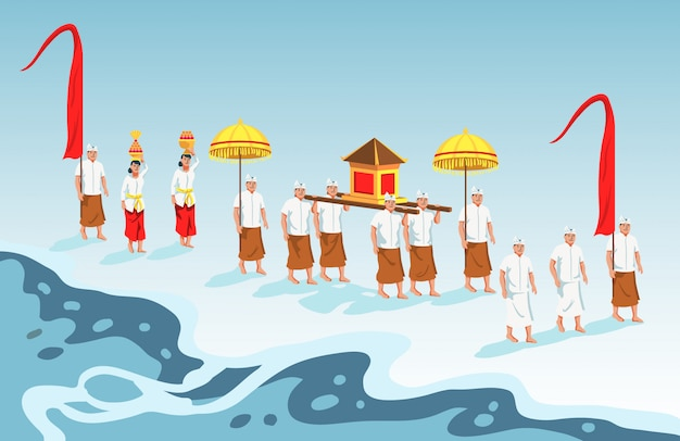 Sacred parade of bali hindu Premium Vector