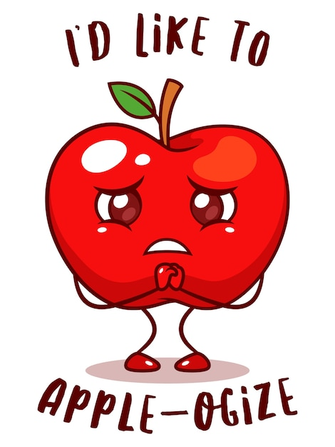 Sad apple fruit Premium Vector