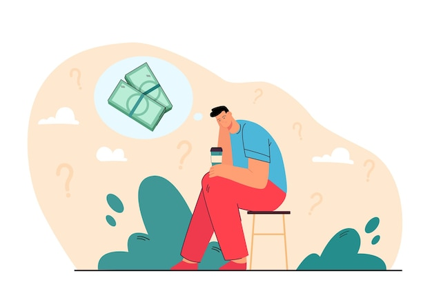 Sad bankrupt thinking of money problems over cup of coffee. cartoon illustration Free Vector