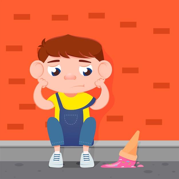 Грустный мальчик плачет от упавшего мороженого. Бесплатные векторы