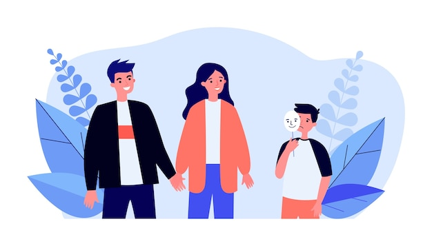 Sad boy holding happy mask and talking to his parents in flat design Premium Vector