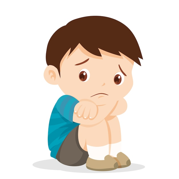 Sad boy sitting alone Premium Vector