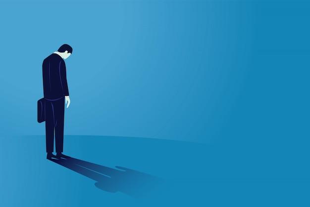悲しい実業家を見下ろして、リアビュー。孤独を感じ、精神的なプレッシャーやストレスを感じる男性。世界的な景気後退の破産 Premiumベクター