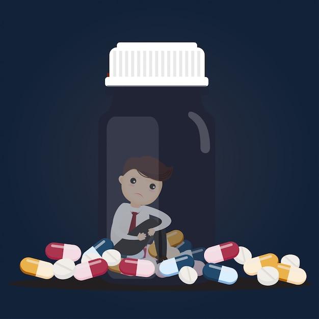 Sad businessman with pill bottles. Premium Vector