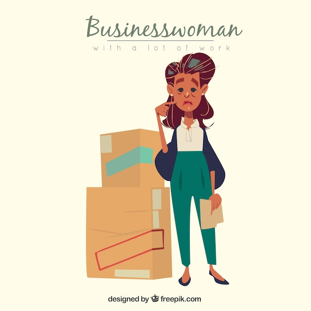Sad businesswoman with a lot of work