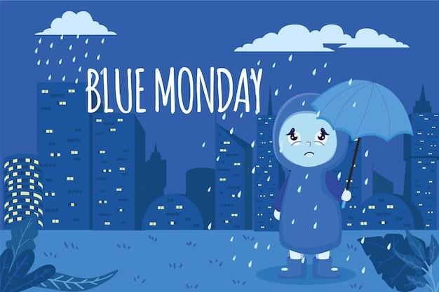 Carattere triste il lunedì blu Vettore gratuito