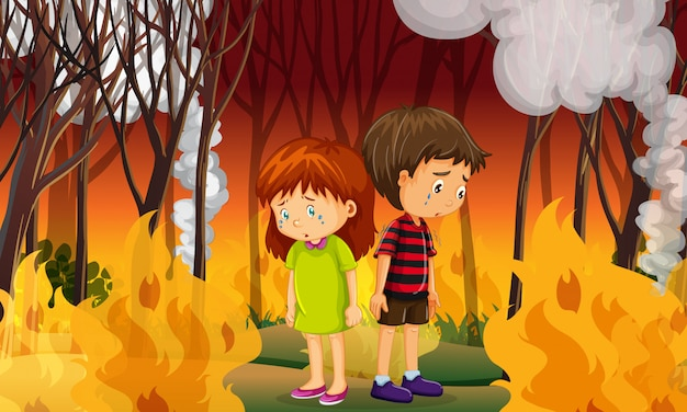 Sad children in wildfire forest Premium Vector
