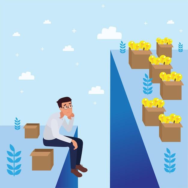 Sad   corporate man worried about failure & decreasing business, leadership success and career progress concept, flat   illustration, business man. Free Vector