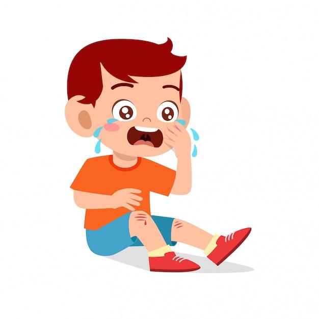 Sad cry cute kid boy knee hurt bleed Premium Vector