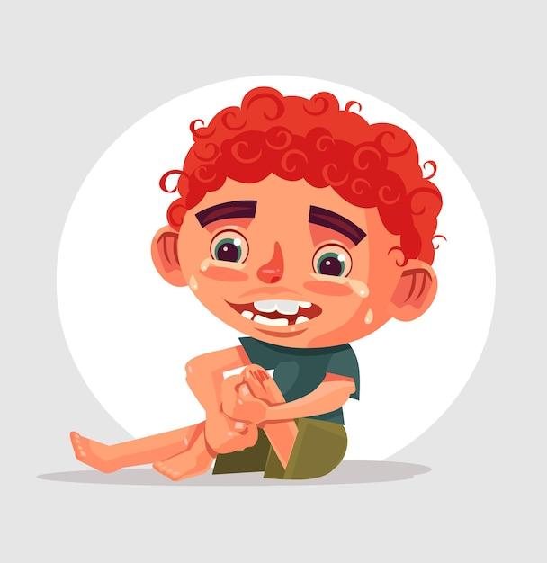 Грустно плачущий мальчик-персонаж упал и повредил колено. Premium векторы
