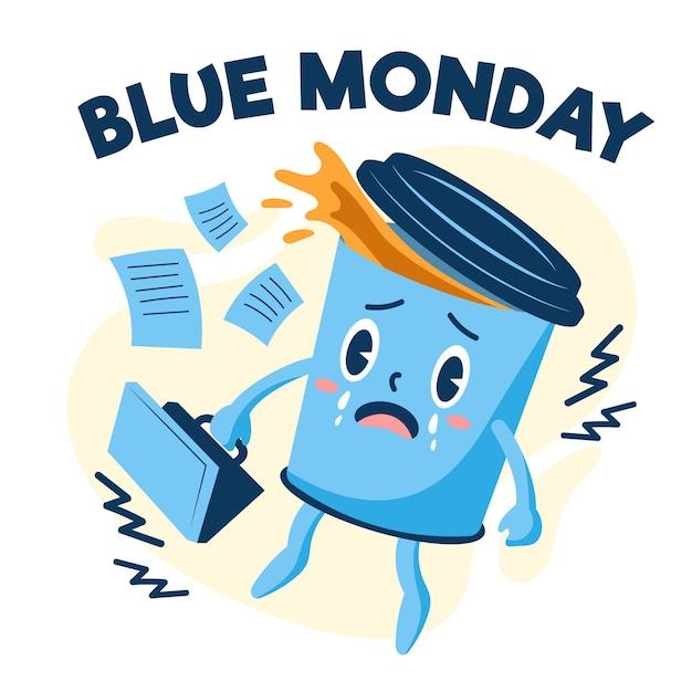 Tazza di caffè triste il lunedì blu Vettore gratuito