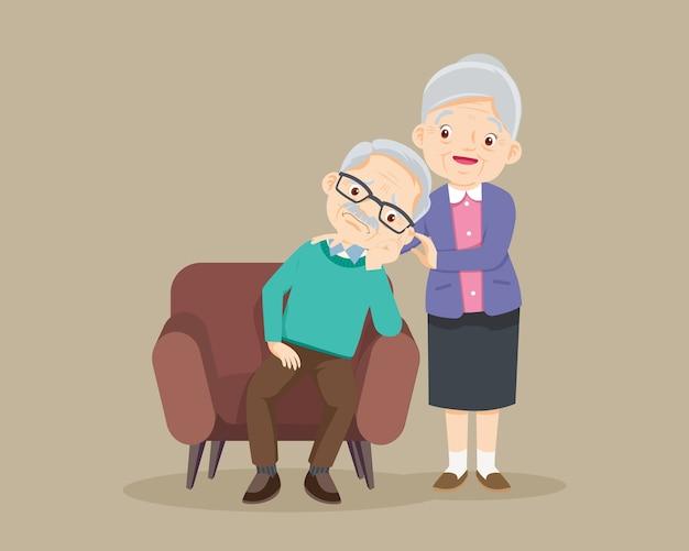 悲しい老人は退屈、悲しい年配の男性は座って、年配の女性は彼女を慰め、祖母は祖父を慰める Premiumベクター