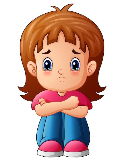 Sad Girl Cartoon Sitting Alone Vector  Premium Download-3766