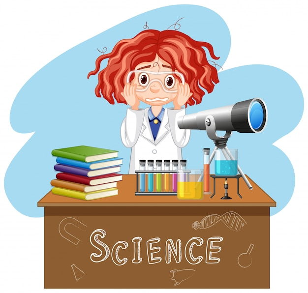 Sad girl working in science lab Free Vector