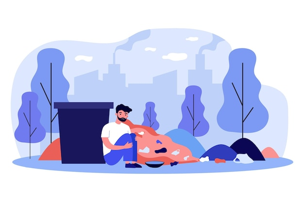 ゴミ箱の近くに座っている悲しいホームレスの男性。ゴミ、街並み、乞食フラットベクトルイラスト Premiumベクター