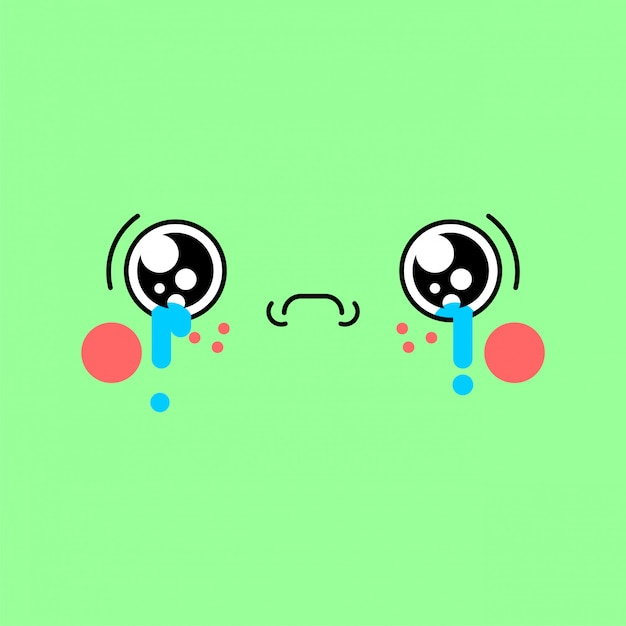 Sad kawaii face cute cartoon. funny crying | Premium Vector