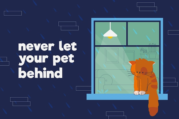 Sad kitty being left behind Free Vector