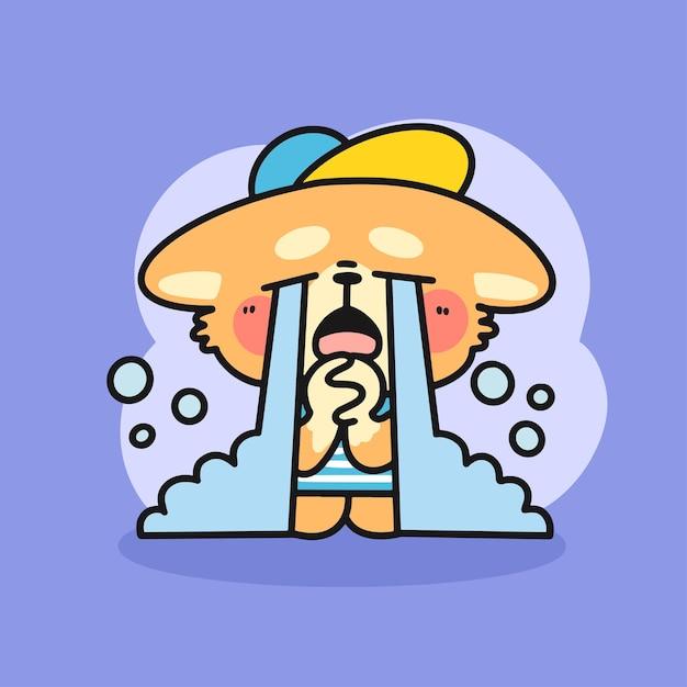 悲しい小さなコーギー泣いているキャラクター落書きイラスト Premiumベクター
