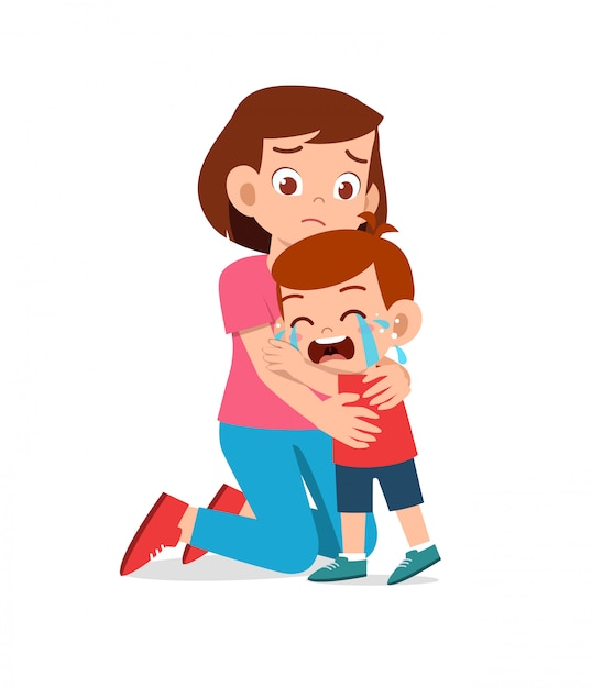 Sad little kid boy and girl cry loud with parent mom and dad Premium Vector