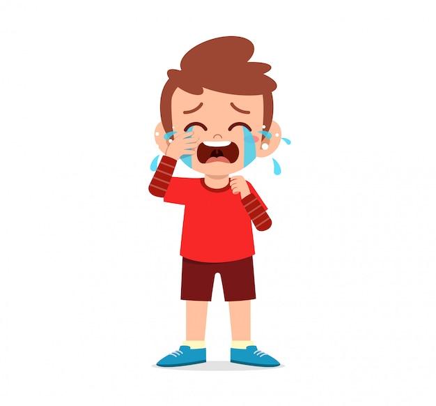 Sad little kid boy and girl cry loud Premium Vector