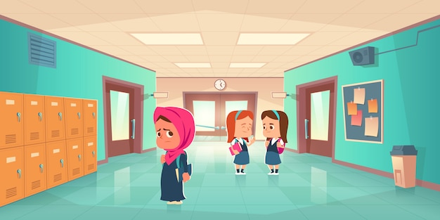 Sad lonely muslim girl in school hallway Free Vector