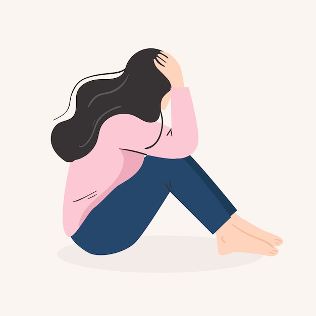 Sad lonely woman. depressed young girl.  vector illustration in flat cartoon style Premium Vector