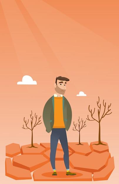 Sad man in the desert vector illustration. Premium Vector