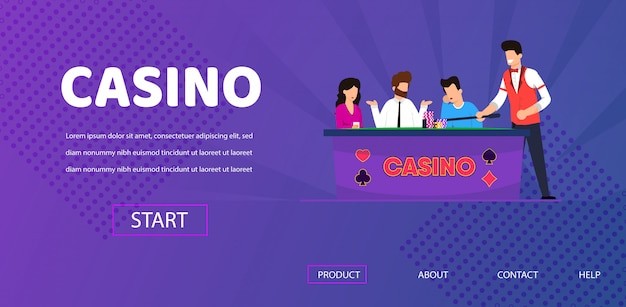 Sad man lost in poker casino dealer clear table Premium Vector