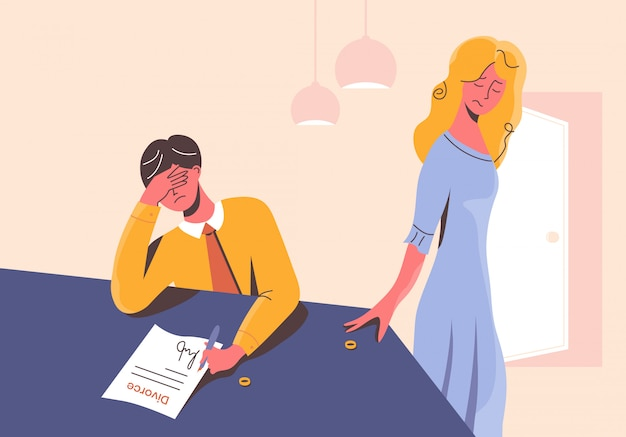 Sad Man Signing The Divorce Documents At The Table And Disappointed Woman Taking Her Wedding Ring Off Unhappy Couple In Heartbreak Ex Husband And Ex Wife Separated Stressful Situation In Family Premium Vector