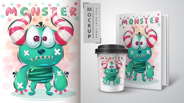 Sad monster poster and merchandising Premium Vector