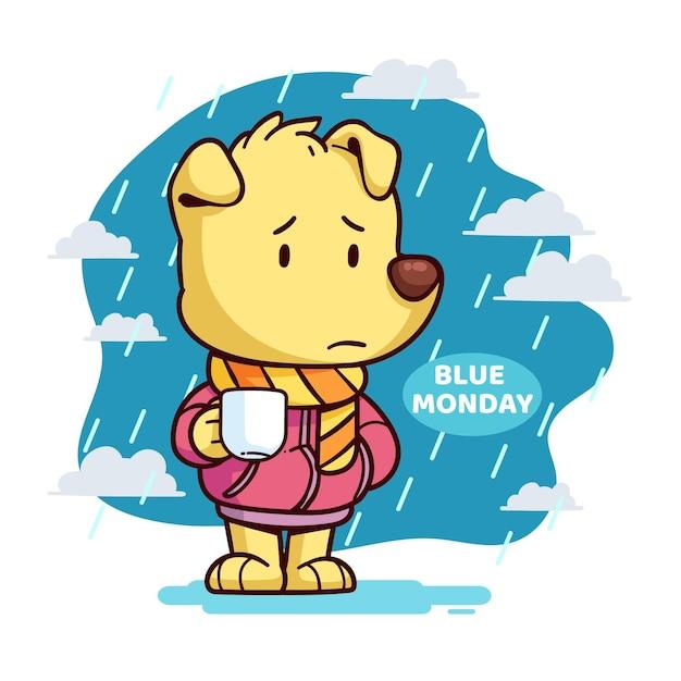 Cucciolo triste lunedì blu Vettore gratuito