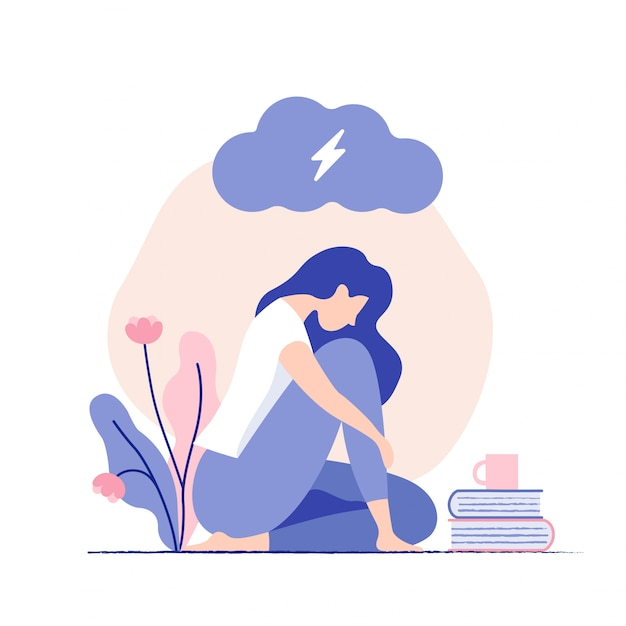 Sad, unhappy young woman sitting under dark cloud. psychology, depression, bad mood, stress. Premium Vector