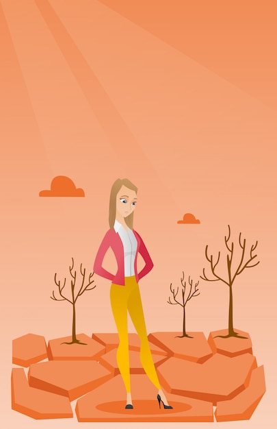 Sad woman in the desert vector illustration. Premium Vector