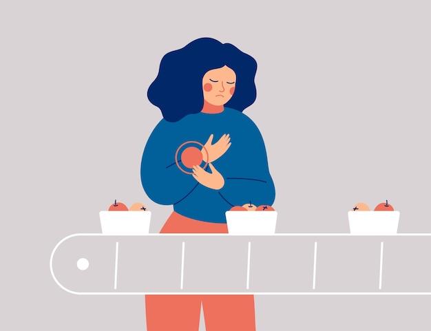 悲しい女性は手に痛み、不快感を持っています。若い女性のパッカーは仕事で彼女の手首を負傷しました Premiumベクター
