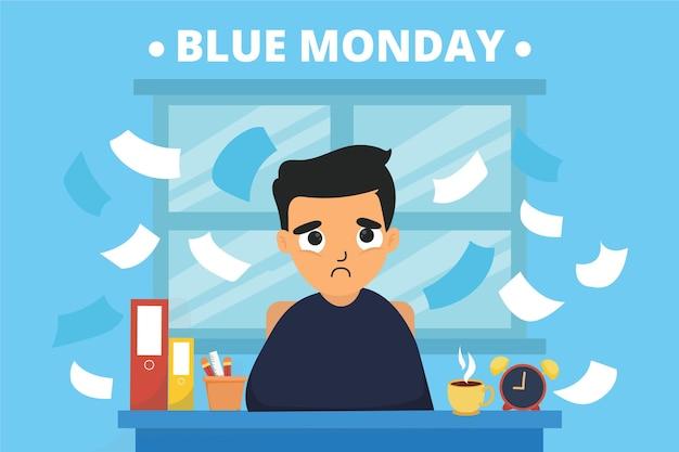 Giovane triste il lunedì blu Vettore gratuito